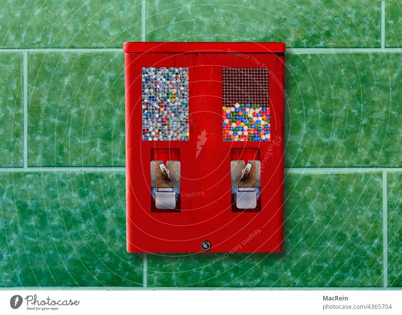 Gumball machine Retail Color Image Photography Cash Insert Chewing Gum Gumball Machine Childhood Consumption Tile Wall No People Nostalgia Red Day Transparent