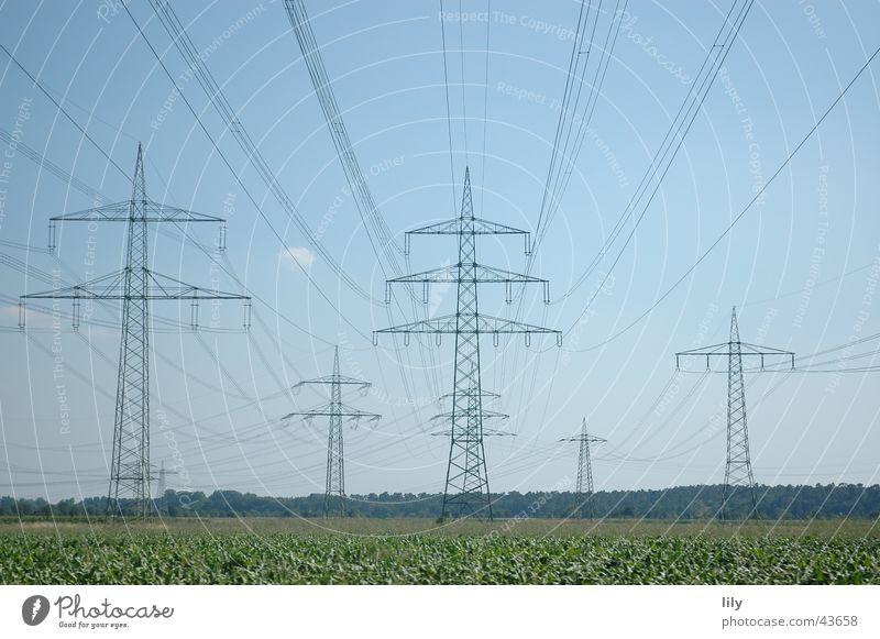 Pole landscape #2 Electricity Electricity pylon Green Meadow Blue Sky