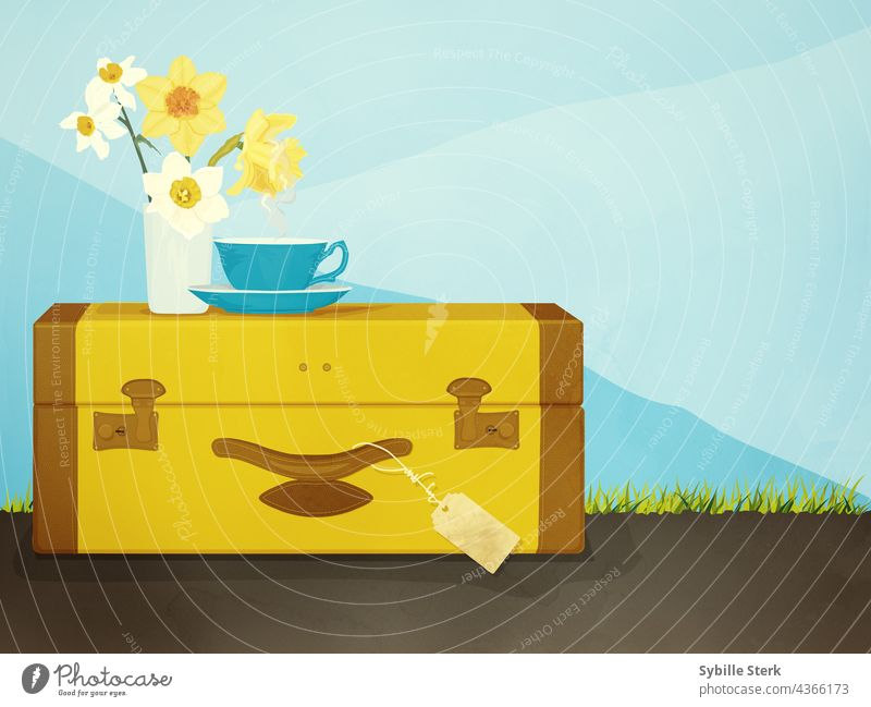 Suitcase with cup of tea and a vase with daffodils suitcase travel tea cup tag sky travelling trip essentials happiness mountains grass road on the road Tea cup