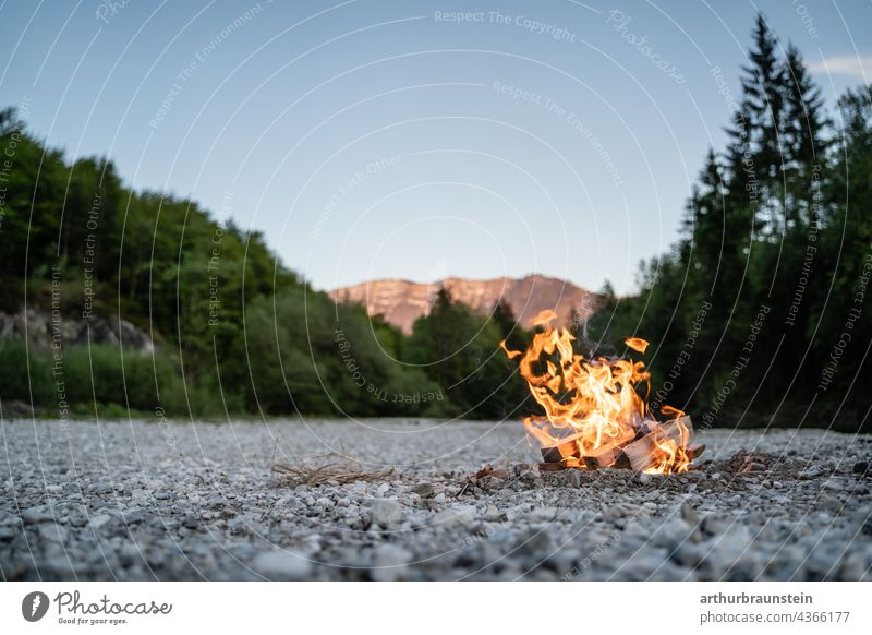 Campfire in the stony riverbed in the nature near the mountains Nature Forest Experiencing nature Love of nature woodland Edge of the forest
