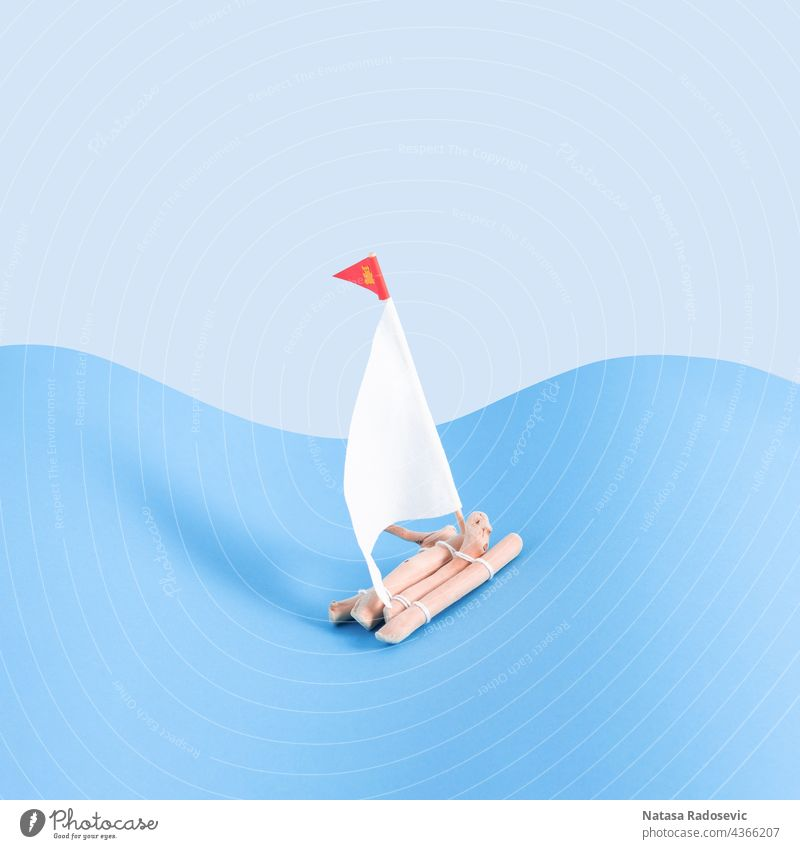 Wooden raft with a sails on a light and dark blue background. concept copy space Abstract minimal Contemporary Square aesthetic art boat color colorful creative