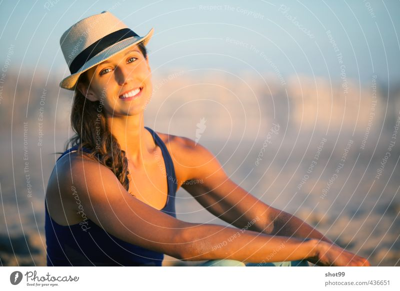Woman with hat at the beach of Venice Beach Hat Top Smiling Face Sun Ocean Relaxation Quality of life Body Emotions Los Angeles USA