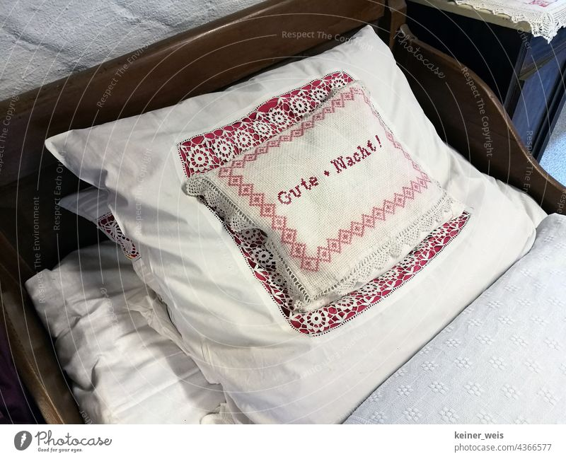 """Grandma's pillow that says """"good night"""" on it... Pillow Labeled Good night Conscience rest pillow Cushion writing Bed Embroidered Point Cloth textile Laundry"""