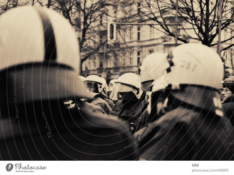 Group Force Police Officer Aggression Demonstration Front side Obstinate