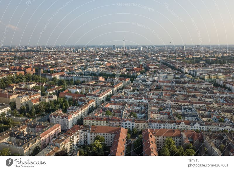 View from Pankow over Berlin Television tower Town Skyline Berlin TV Tower Landmark Capital city Tourist Attraction Downtown Architecture Exterior shot Deserted