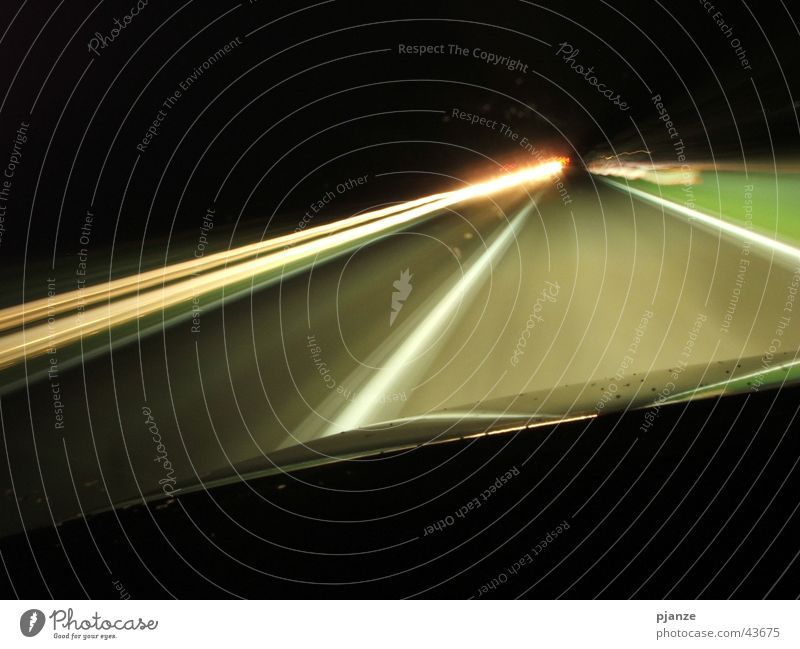 speed buzz Long exposure Night Rain Car Hood Oncoming traffic Speed Transport