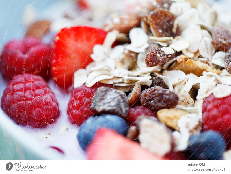 Colourful breakfast. Art Esthetic Contentment Breakfast Breakfast table Morning break Cereal Raspberry Strawberry Blueberry Milk Raisins Healthy Healthy Eating