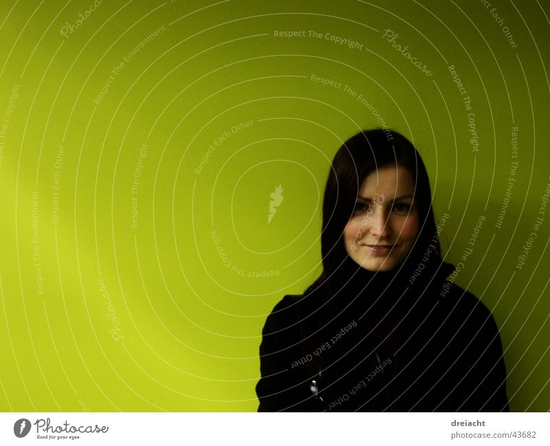 Green with woman on it Woman Beautiful Feminine Black Wall (building) Hair and hairstyles Face