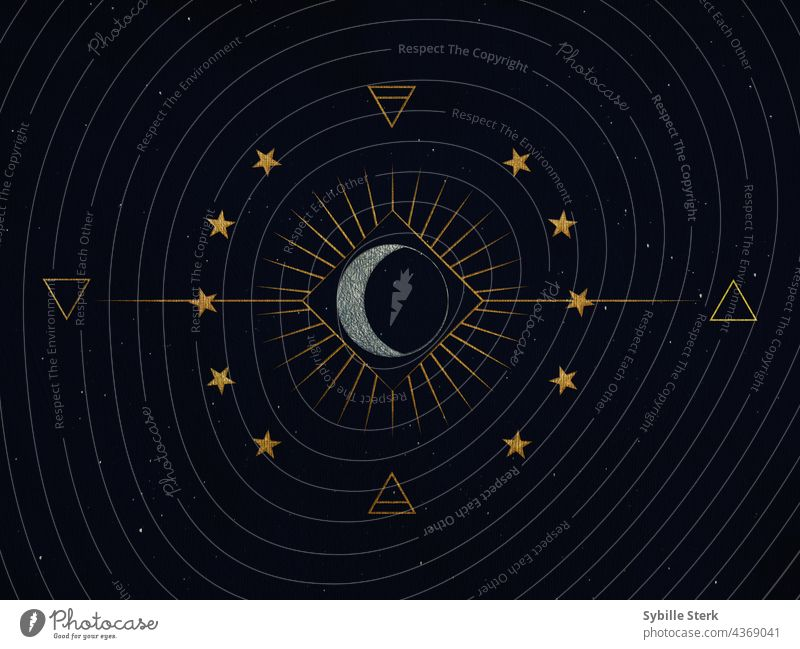 Symbols with stars, moon, sun and alchemical designs on starry background silver gold starry sky symbols alchemy magic magical fire water air earth elements