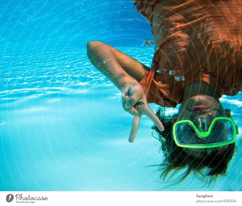 Human being Vacation & Travel Blue Water Summer Girl Joy Feminine Playing Swimming & Bathing Orange Beautiful weather Wet Communicate T-shirt Swimming pool