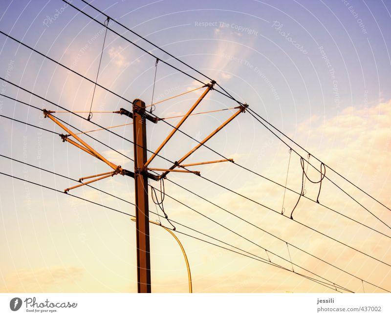 cableguy Cable Movement Joy Idea Optimism Services Tram Overhead line Transmission lines Mast Sky Clouds Electricity Happiness Colour photo Exterior shot
