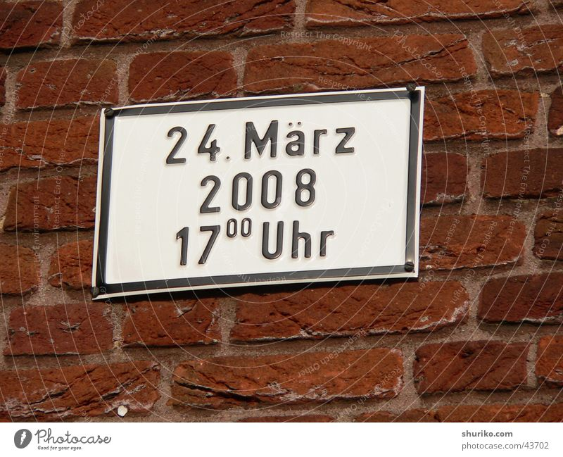 Red Black Wall (building) Germany Signs and labeling 3 Characters Information Things Brick Traffic infrastructure Agree March Münster 2008