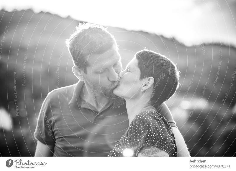 smooch for peace;) Related Harmonious Black & white photo Back-light Exterior shot Face Partner Infatuation Romance Joie de vivre (Vitality) Relationship