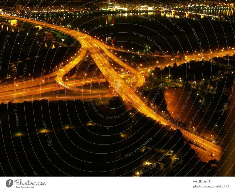 motorway junction River Town Bridge Transport Traffic infrastructure Road traffic Street Highway Dark Speed Lighting Orange traffic junction Urbanization