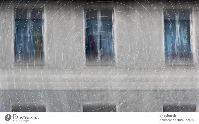 Three windows old and blurry with colorful flowers abandoned abstract aged architecture Background blurred building city closed concept conceptual dark day