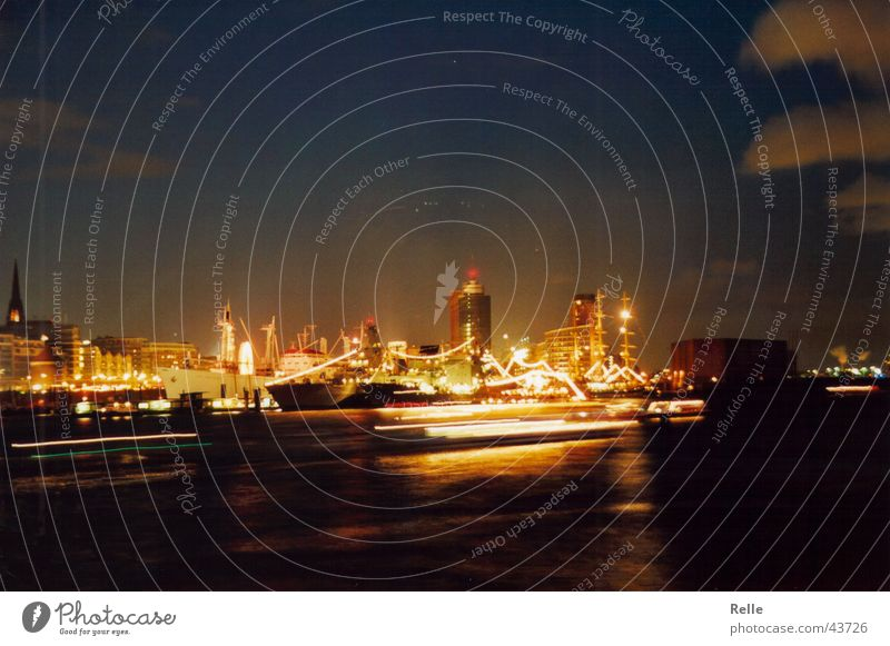 port birthday Light Long exposure Dark Watercraft Night Architecture Hamburg Elbe Feasts & Celebrations Skyline