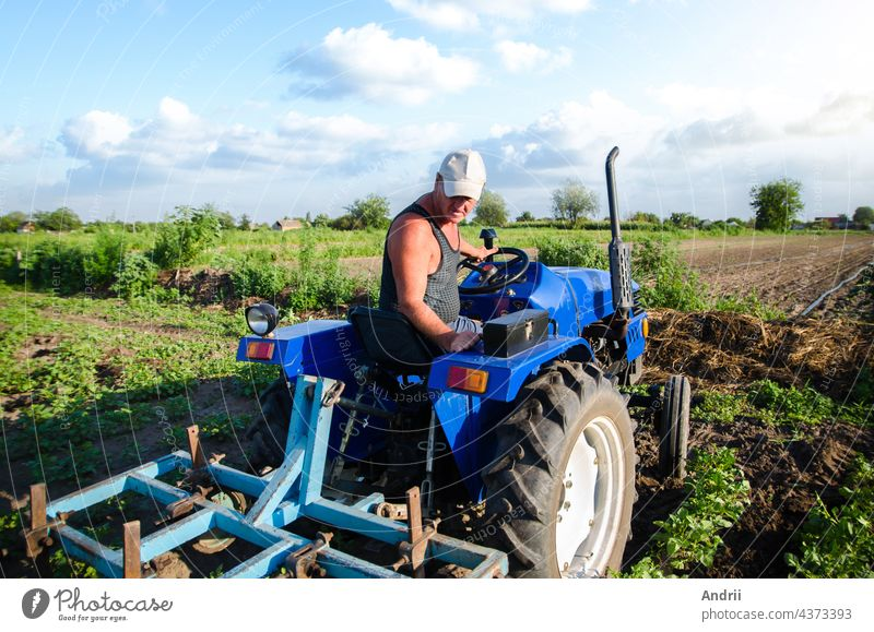 The farmer works in the field with a tractor. Agroindustry and agribusiness. Farm field work cultivation. Farming machinery. Plowing and loosening ground. Crop care, soil quality improvement.