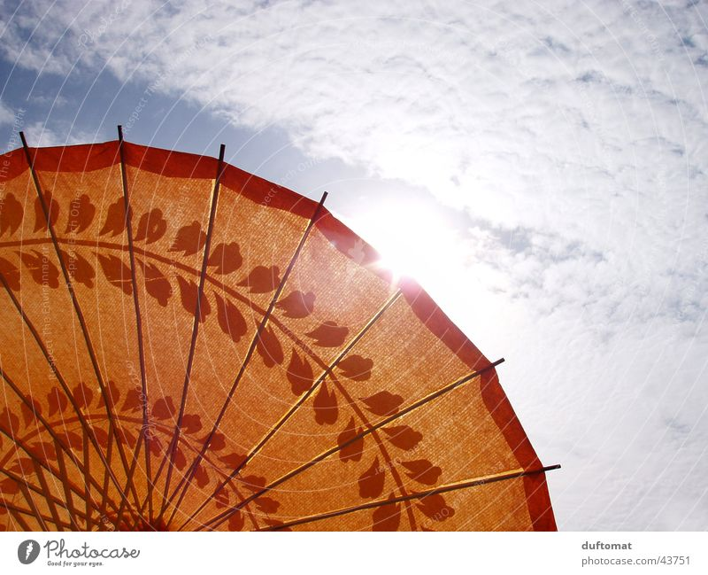Sun Clouds Warmth Orange Asia Umbrella
