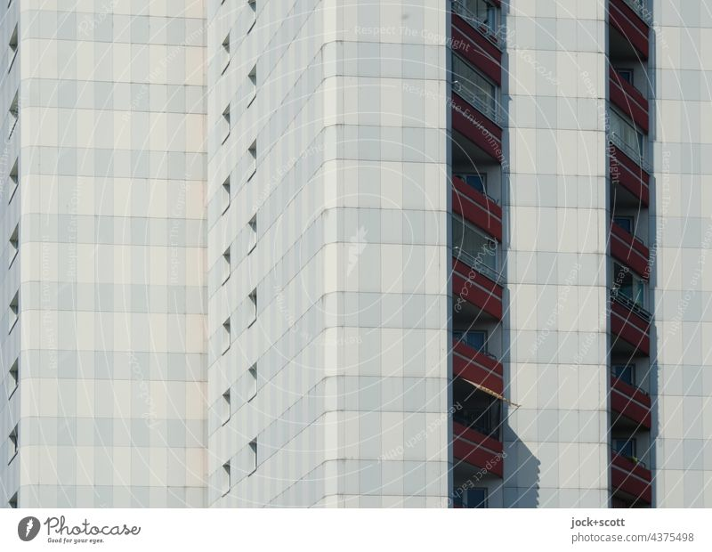 Detail of the prefabricated building Facade Architecture Gray Balcony Apartment Building Tower block GDR Symmetry Authentic Style Structures and shapes