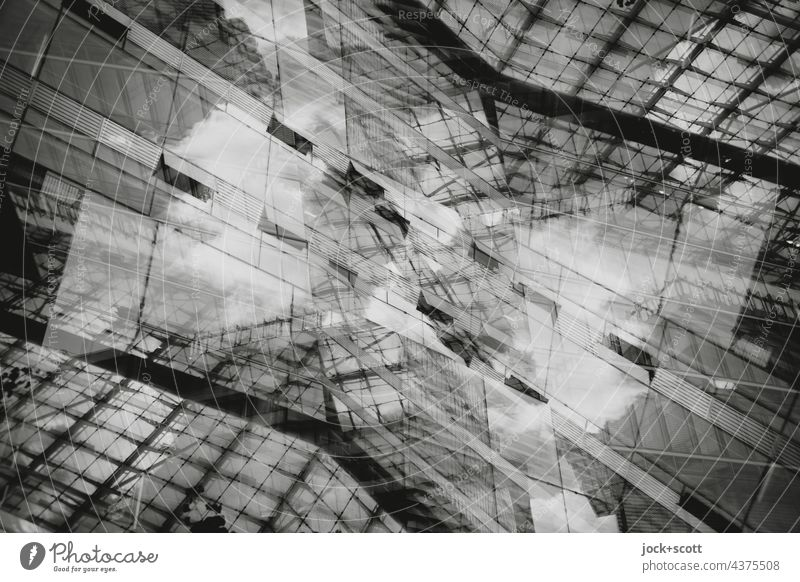 Abstract Architecture IIl Line Aspire Glas facade Modern architecture Building Structures and shapes Double exposure Reaction Design Silhouette Irritation