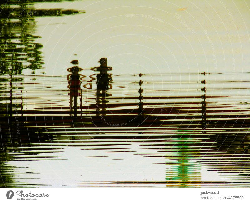 We love water in the carp pond Romance Love Lovers Stick figure Surrealism Surface of water Neutral Background Structures and shapes Silhouette Reflection