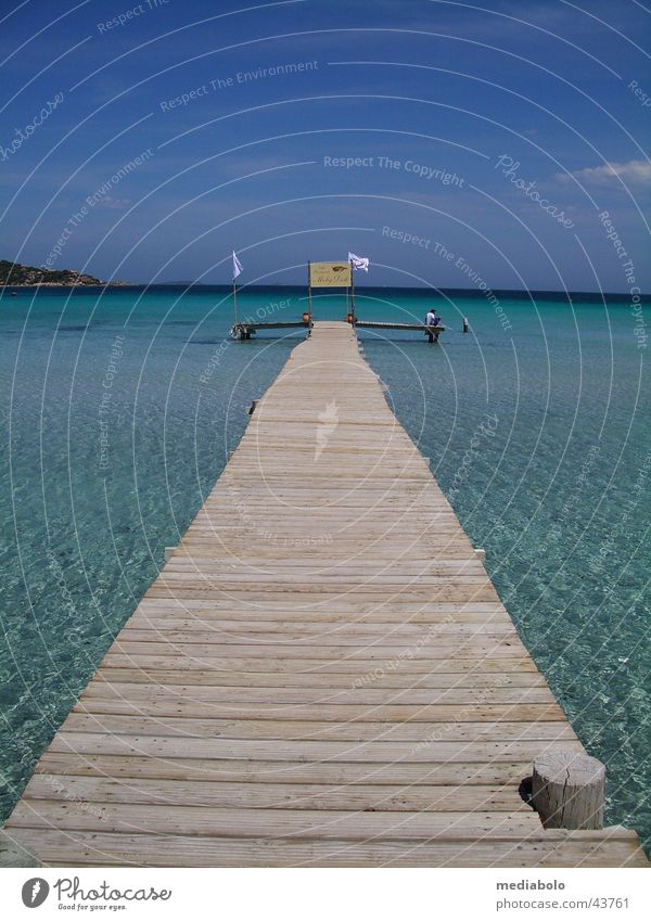 Blue Beach Warmth Europe Physics France Bay Turquoise Footbridge Mediterranean sea Corsica