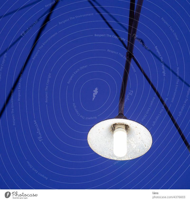 street lighting Street lighting build hour Blue Sky Lamp Lighting Lantern Deserted Exterior shot