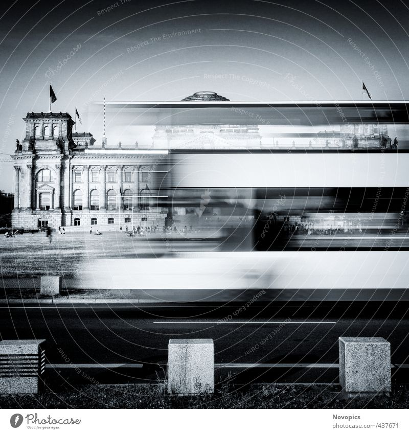 Berlin Reichstag building with double-decker bus Human being Architecture Meadow Capital city Populated Manmade structures Building Facade Tourist Attraction