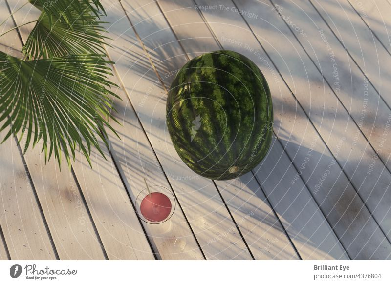 Watermelon on white boards in the evening sunlight Decoration concept Above fruits wooden Summertime Garden Wood Raw Nature Tropical Melon Plank Vegetable