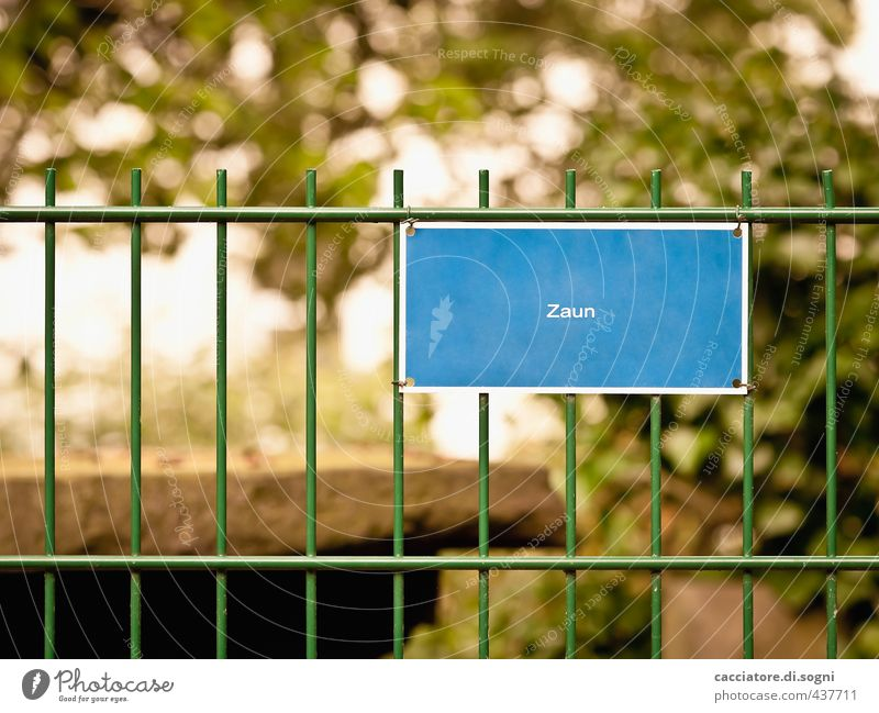 fence Fence Signs and labeling Metal Characters Signage Warning sign Sharp-edged Simple Brash Friendliness Funny Point Blue Green Safety Watchfulness