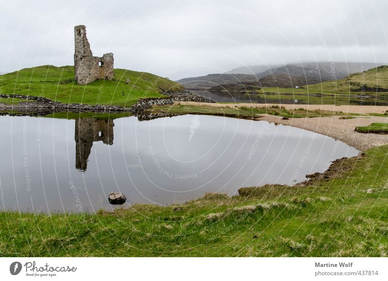 Ardvreck Castle Vacation & Travel Trip Nature Landscape Clouds Bad weather Hill Lakeside Bay Great Britain Scotland Europe Ruin Tourist Attraction Gloomy