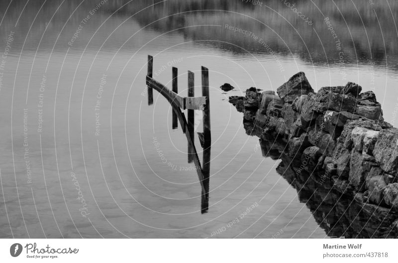 mirroring Nature Lake Stone Wood Gloomy Gray Calm ardvreck Fence Wall (barrier) Surface of water Black & white photo Exterior shot Abstract Copy Space left