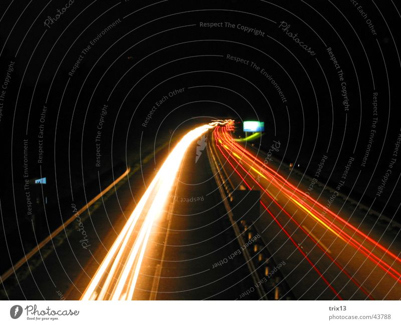 freeway Highway Speed Red Yellow White Dark Night Black Driving Right Bird's-eye view Signs and labeling Long exposure Blur Light Curve Strip of light Street
