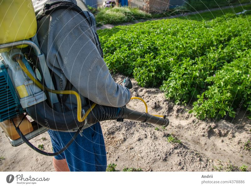 Farmer with a spray machine on potato plantation background. Fungicide and pesticide use for protection of cultivated plants from insects and fungal infections. Crop protection, environmental impact