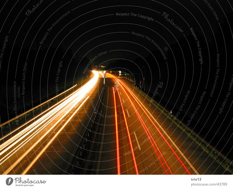 freeway Highway Speed Red Yellow White Dark Night Black Driving Left Bird's-eye view Long exposure Blur Light Curve Strip of light