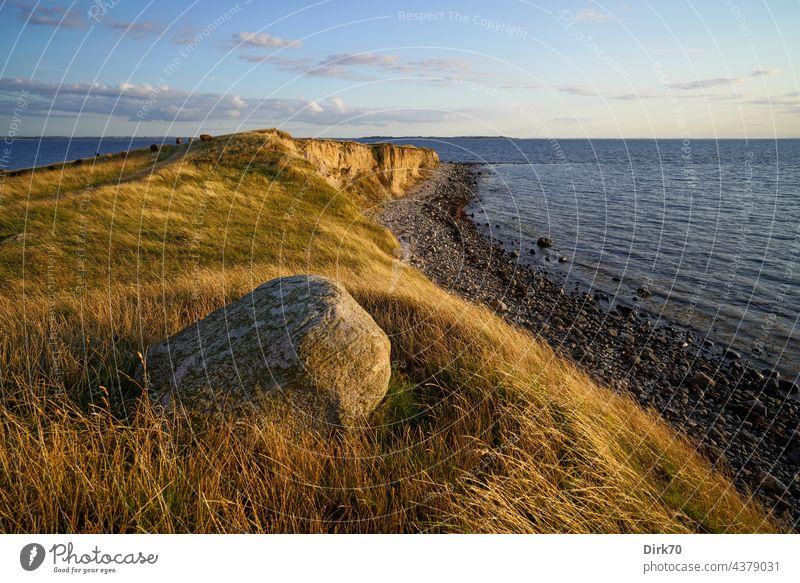 Ordrup Næs Peninsula, Zealand, Danish Baltic Sea coast Beach steep coast cliff Stone Ocean Landscape Nature Water Sky Exterior shot Rock Idyll Deserted