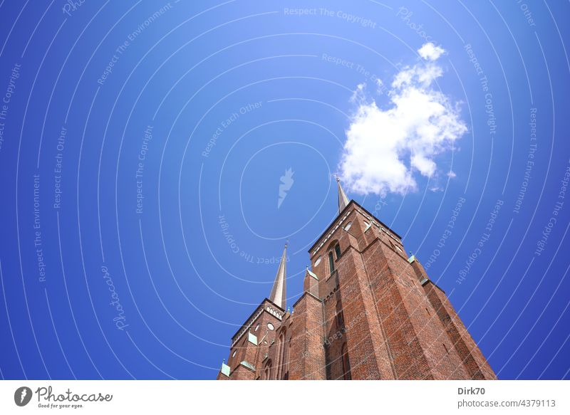 Roskilde Cathedral, frog perspective Dome Church UNESCO World Heritage Site Gothic period Religion and faith Architecture Exterior shot Colour photo