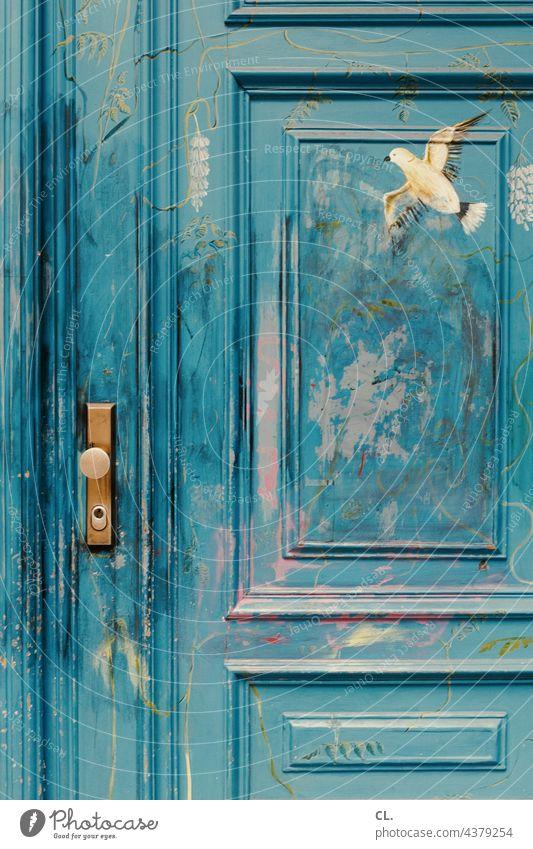 painted wooden door Blue Wood Bird Peace Wooden door Dove of peace Painted Closed door handle Door handle Creativity Pigeon Colour painting Lock Freedom