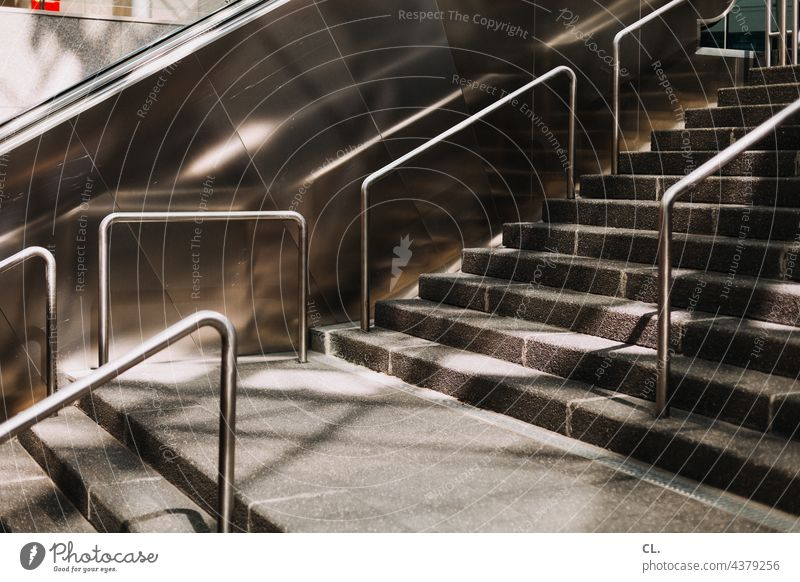staircase Stairs Escalator handrail Architecture Train station Structures and shapes Upward Abstract Metal
