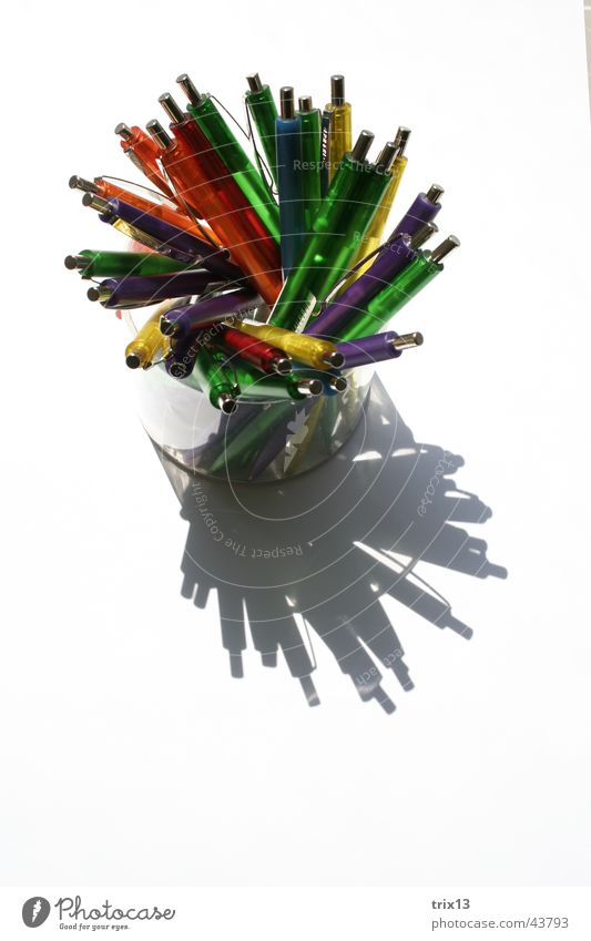 ballpoint Multicoloured Things Difference White Stationery Muddled Mixture Consecutively Ballpoint pen Tin Colour Shadow Above Swirl Glass Neutral Background