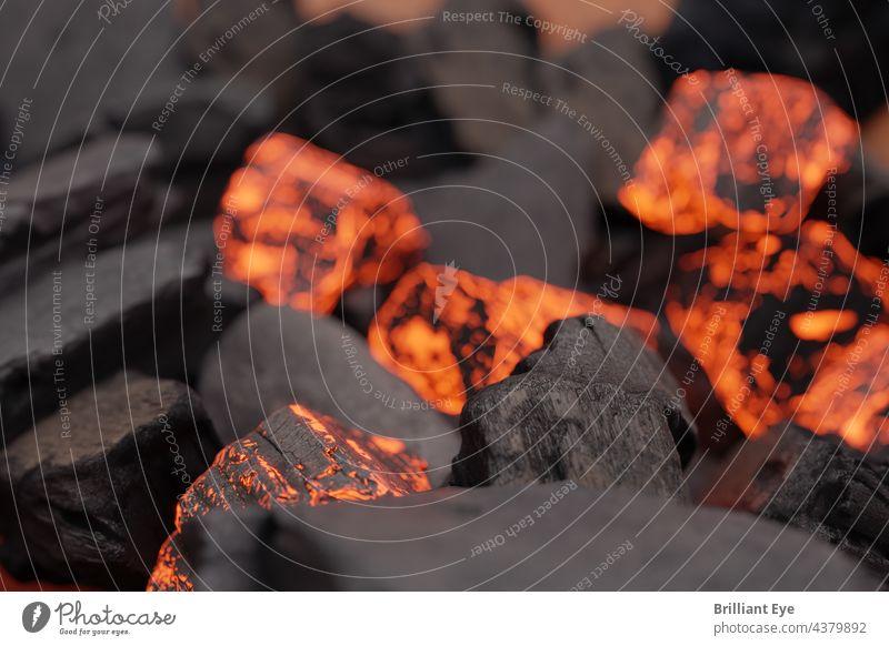 Close up of black and glowing charcoal Force Summer Light flaming Close-up Combustible briquette peril nobody Incandescent Temperature Bright cauterizing Burnt