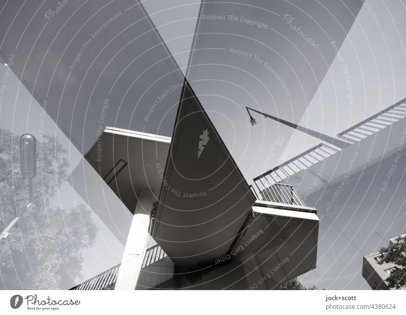 Double Bridge Staircase (Hallway) Concrete Sharp-edged Surrealism Modern Irritation Double exposure Abstract Structures and shapes Worm's-eye view Architecture
