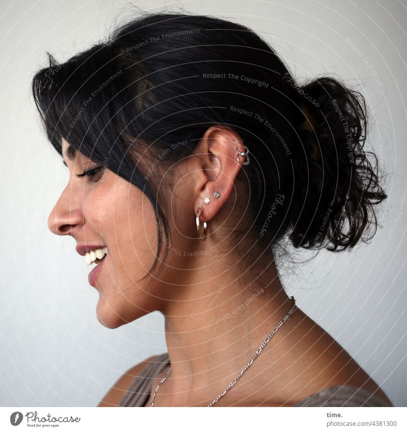 Estila portrait Profile Jewellery Earring Long-haired Black-haired Braids Laughter Smiling pretty Downward vivacious