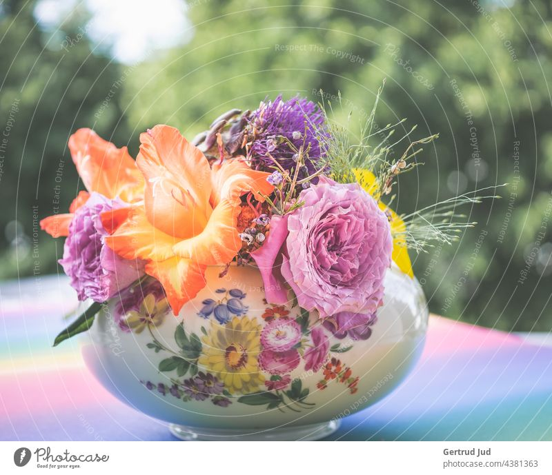 Colorful bouquet of flowers in flowery bowl Flower Flowers and plants Blossom Plant Nature Garden Colour photo Summer Exterior shot Close-up Blossoming