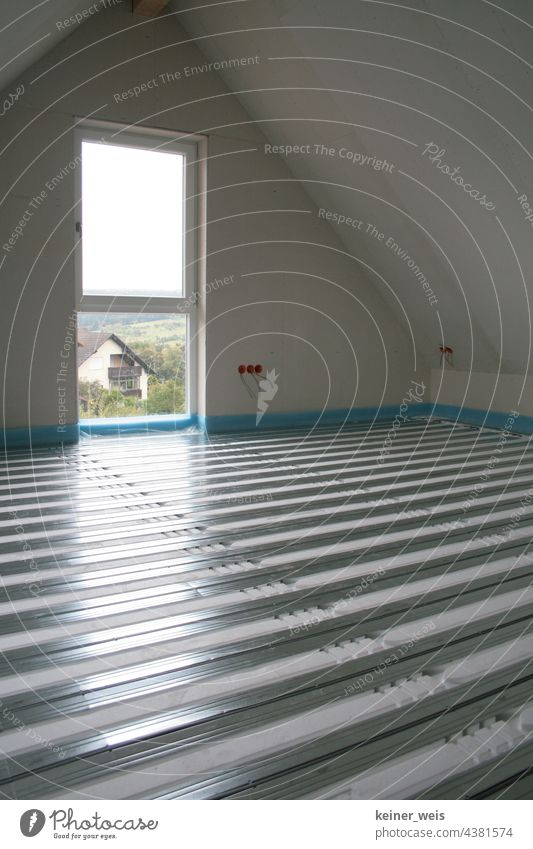 Underfloor heating in the interior of a house under construction underfloor heating heating engineering Apartment Building Energy industry Heating