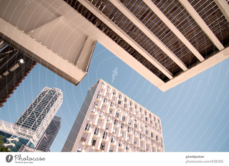 Sky City Architecture Business High-rise Perspective Vantage point Skyline Curve Sharp-edged Capital city Barcelona Economic crisis Real estate market