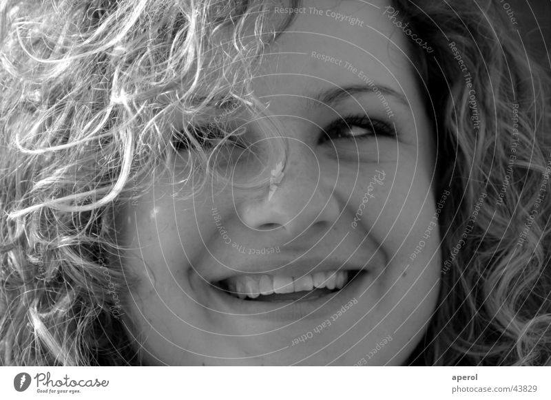 Woman White Black Laughter Blonde Happiness Grinning Curl Good mood
