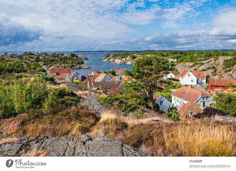 View of the village Brekkestø in Norway Brekkesto Village Ocean coast North Sea Skagerrak Island Justøya Justoya archipelago archipelago garden