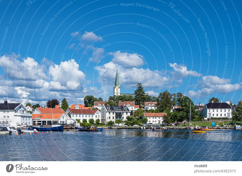 View of the town of Lillesand in Norway Town Church Ocean coast North Sea Skagerrak Harbour boat ship Sailing ship Summer Architecture