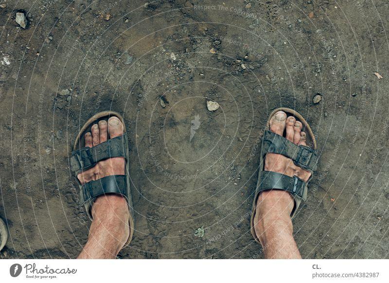 dirty feet Sandals Dirty filth Feet Toes Man Ground stones Summer